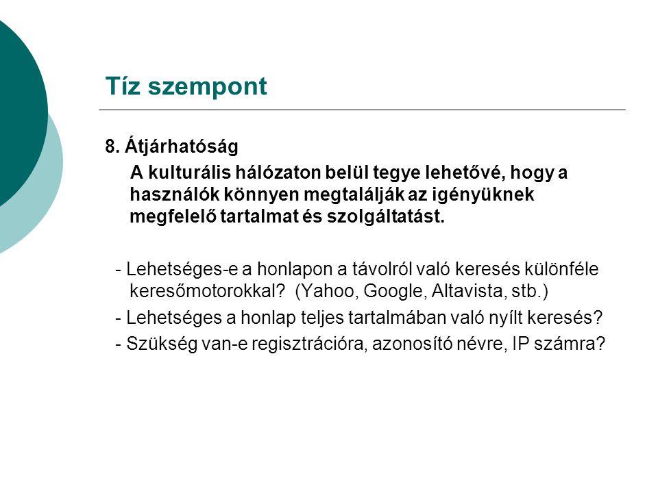 Tíz szempont 8.