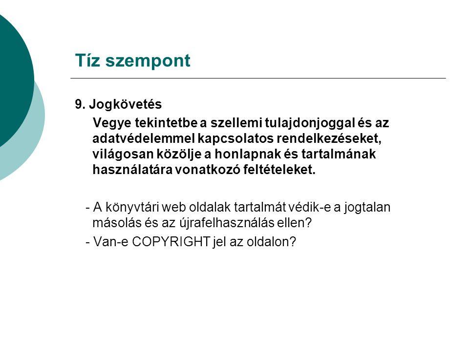 Tíz szempont 9.