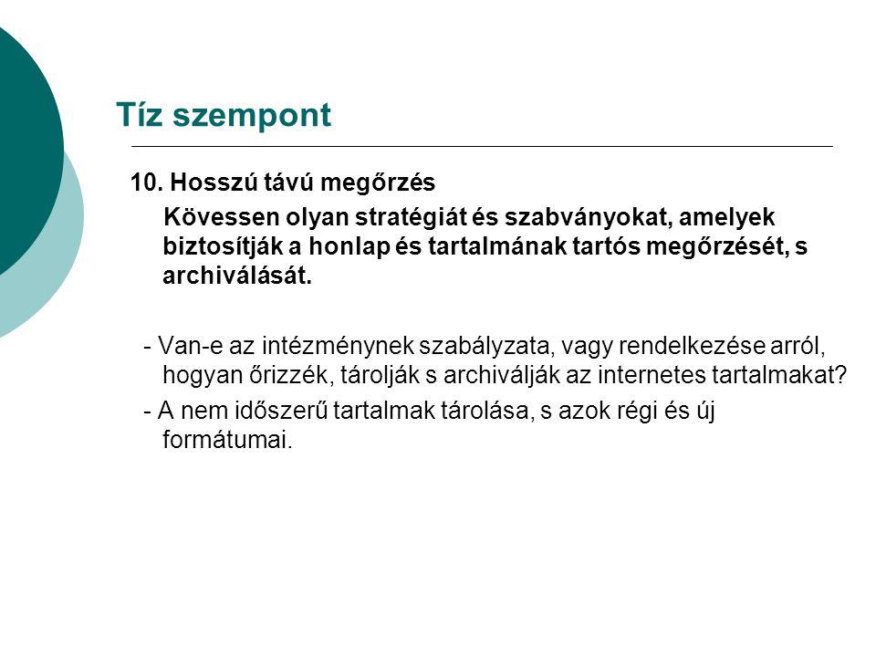 Tíz szempont 10.