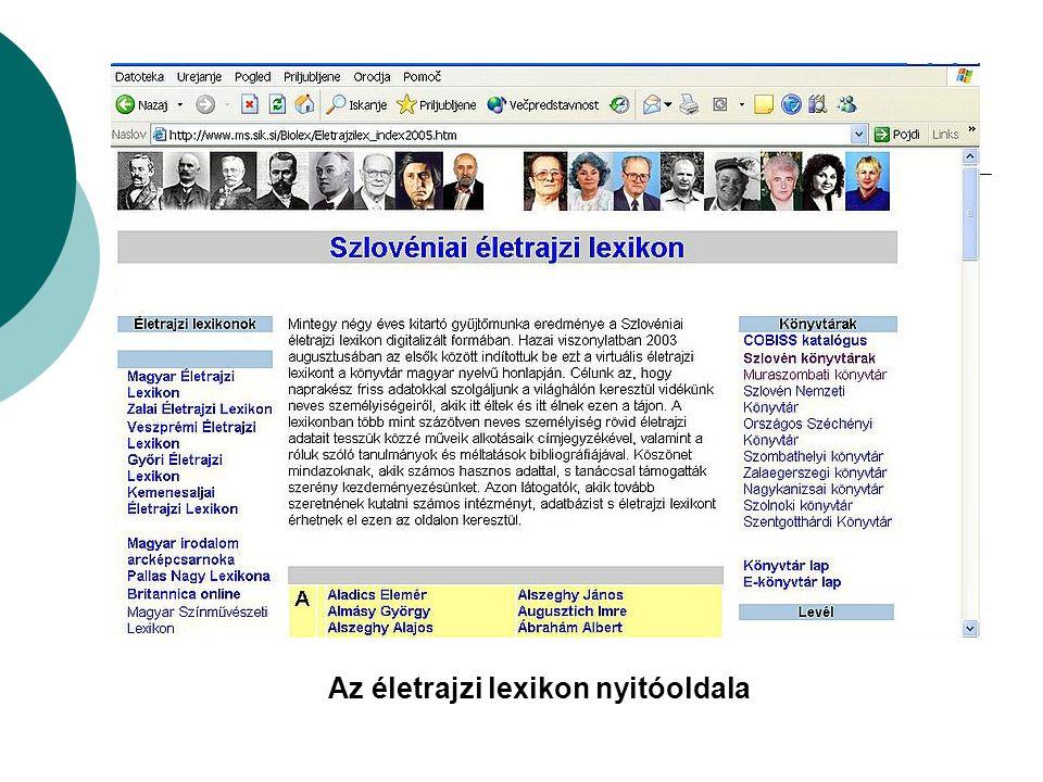 Az életrajzi lexikon nyitóoldala