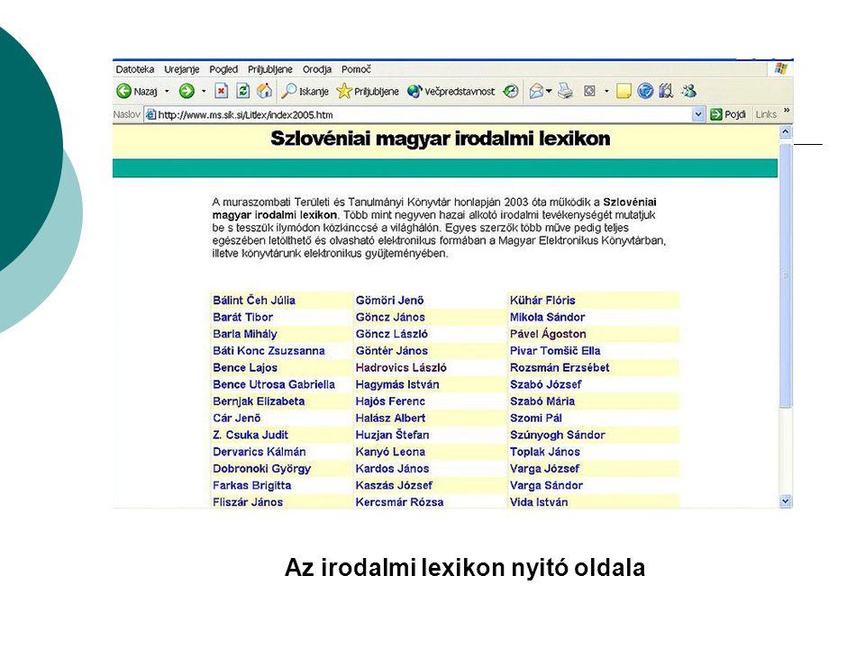 Az irodalmi lexikon nyitó oldala