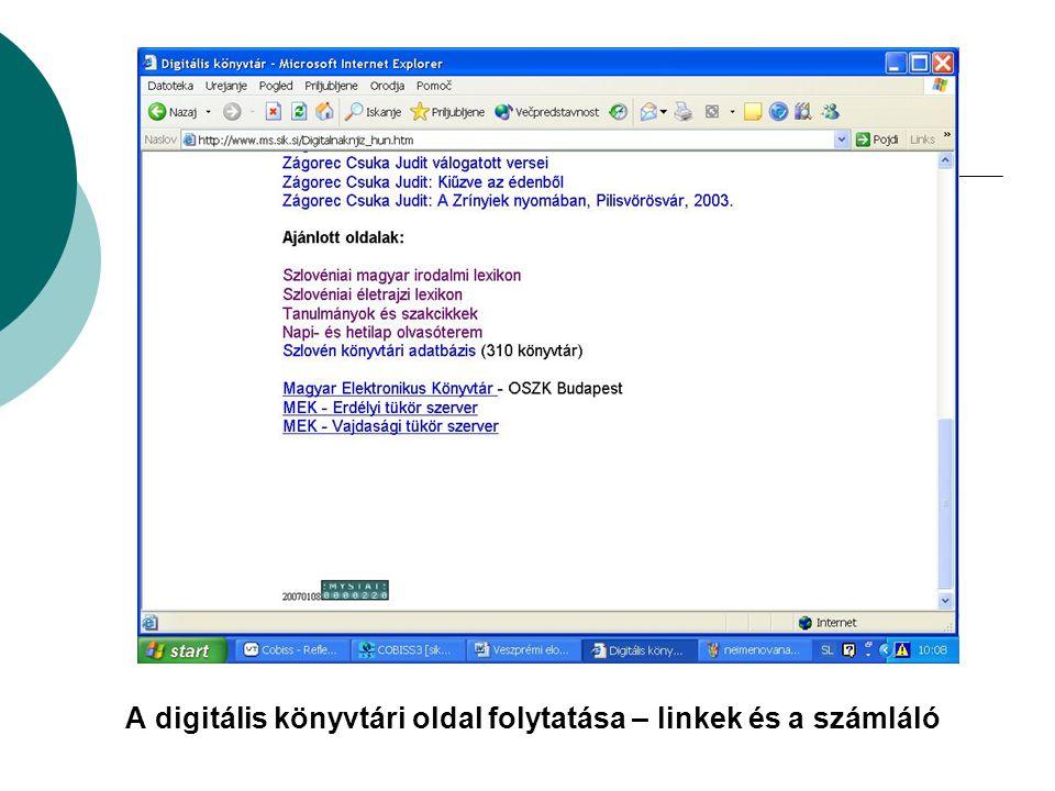 A digitális könyvtári oldal folytatása – linkek és a számláló