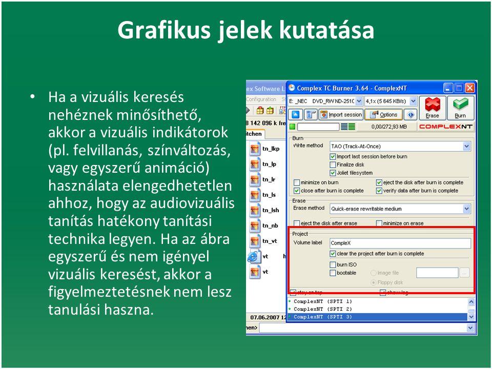 Grafikus jelek kutatása Ha a vizuális keresés nehéznek minősíthető, akkor a vizuális indikátorok (pl.