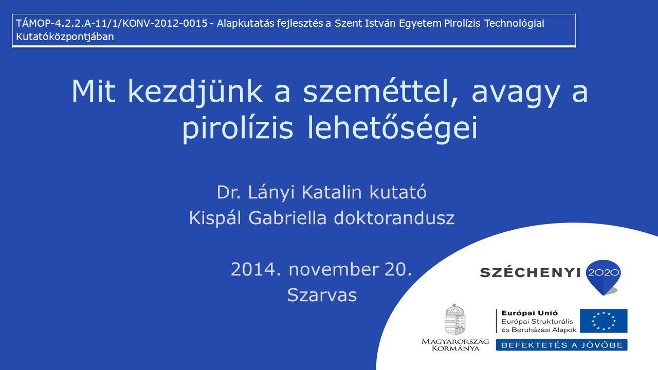 Mit kezdjünk a szeméttel, avagy a pirolízis lehetőségei Dr. Lányi Katalin kutató Kispál Gabriella doktorandusz 2014. november 20. Szarvas