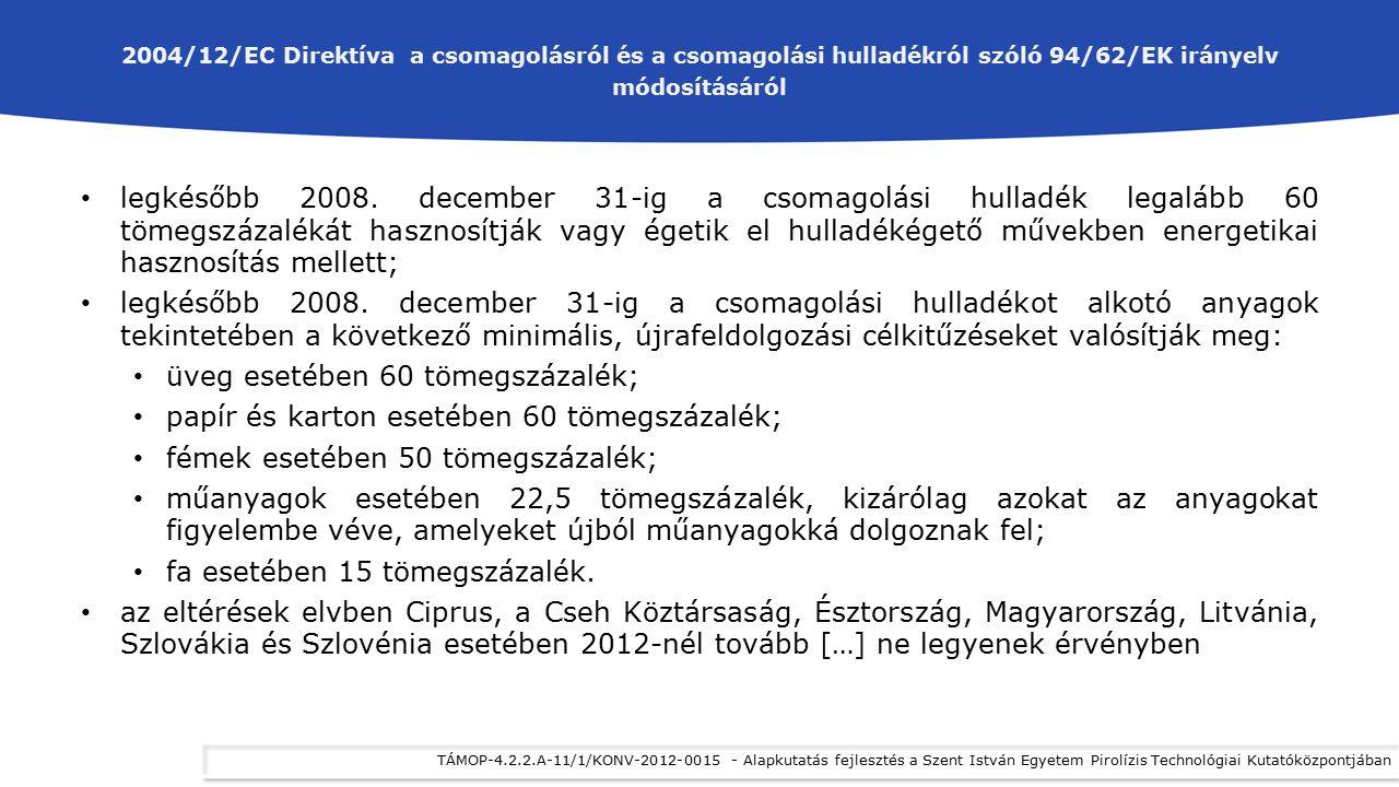 2004/12/EC Direktíva a csomagolásról és a csomagolási hulladékról szóló 94/62/EK irányelv módosításáról legkésőbb 2008. december 31-ig a csomagolási h