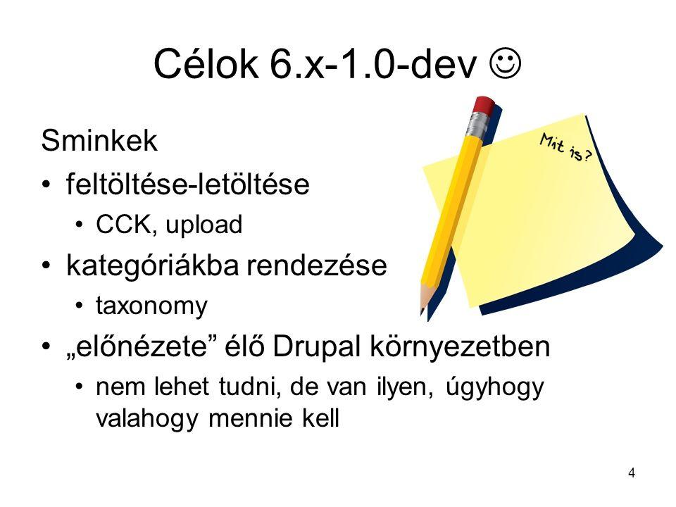 """4 Célok 6.x-1.0-dev Sminkek feltöltése-letöltése CCK, upload kategóriákba rendezése taxonomy """"előnézete élő Drupal környezetben nem lehet tudni, de van ilyen, úgyhogy valahogy mennie kell"""