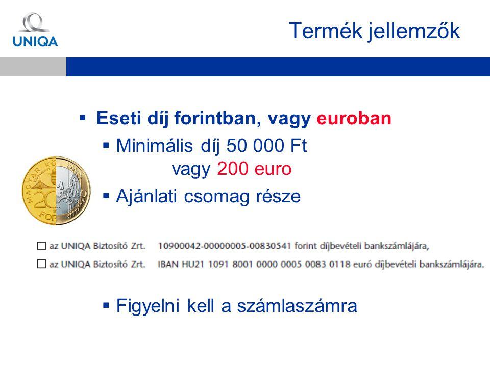 Termék jellemzők  Eseti díj forintban, vagy euroban  Minimális díj 50 000 Ft vagy 200 euro  Ajánlati csomag része  Figyelni kell a számlaszámra