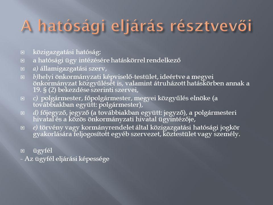  közigazgatási hatóság:  a hatósági ügy intézésére hatáskörrel rendelkező  a) államigazgatási szerv,  b) helyi önkormányzati képviselő-testület, i