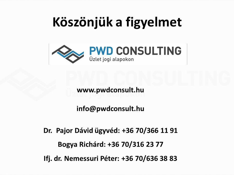 Köszönjük a figyelmet www.pwdconsult.hu info@pwdconsult.hu Dr. Pajor Dávid ügyvéd: +36 70/366 11 91 Bogya Richárd: +36 70/316 23 77 Ifj. dr. Nemessuri