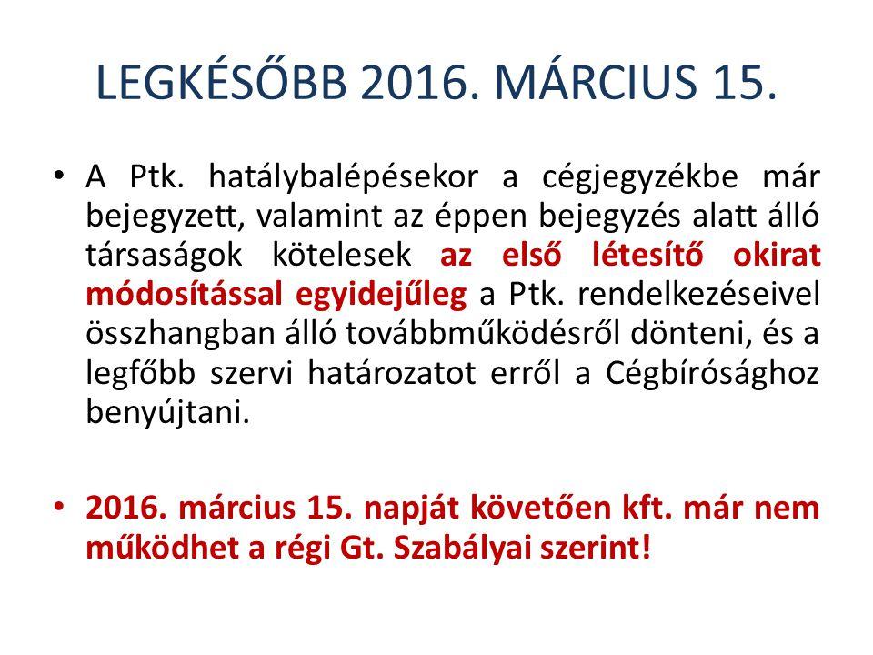 LEGKÉSŐBB 2016.MÁRCIUS 15. A Ptk.