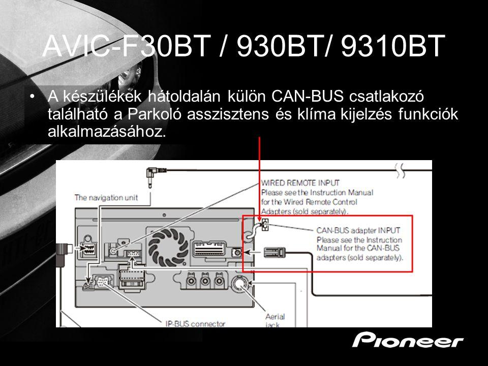 AVIC-F30BT / 930BT/ 9310BT A készülékek hátoldalán külön CAN-BUS csatlakozó található a Parkoló asszisztens és klíma kijelzés funkciók alkalmazásához.