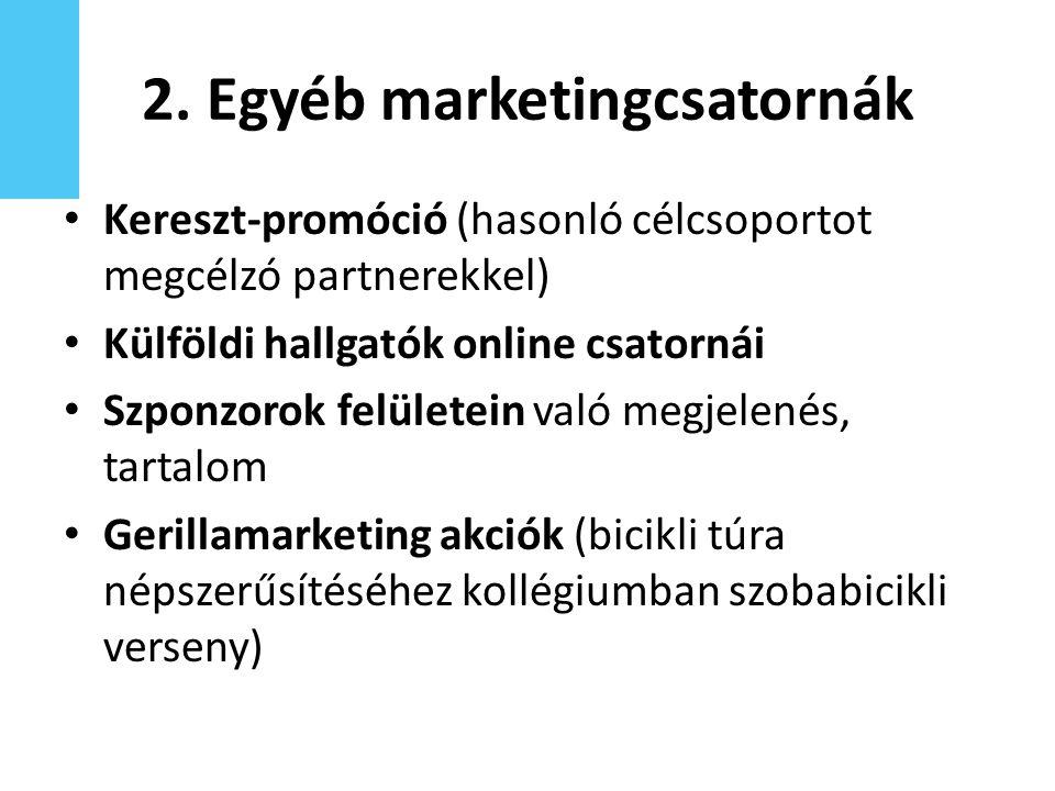 2. Egyéb marketingcsatornák Kereszt-promóció (hasonló célcsoportot megcélzó partnerekkel) Külföldi hallgatók online csatornái Szponzorok felületein va