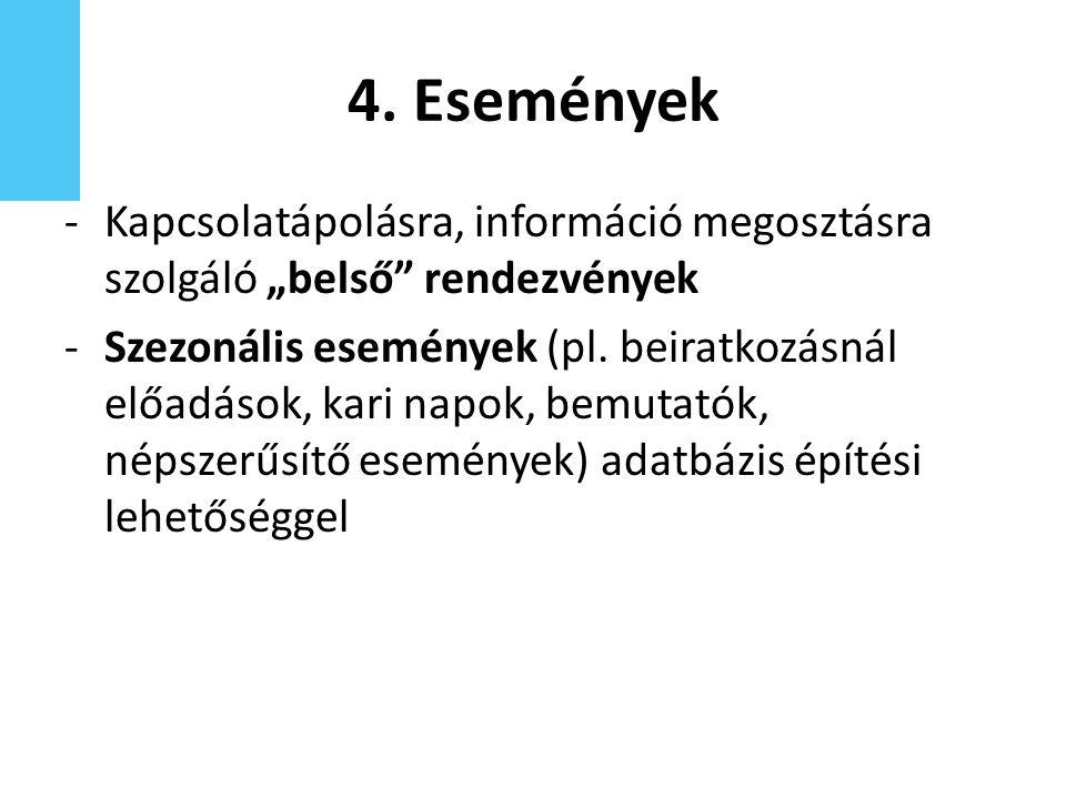 """4. Események -Kapcsolatápolásra, információ megosztásra szolgáló """"belső"""" rendezvények -Szezonális események (pl. beiratkozásnál előadások, kari napok,"""