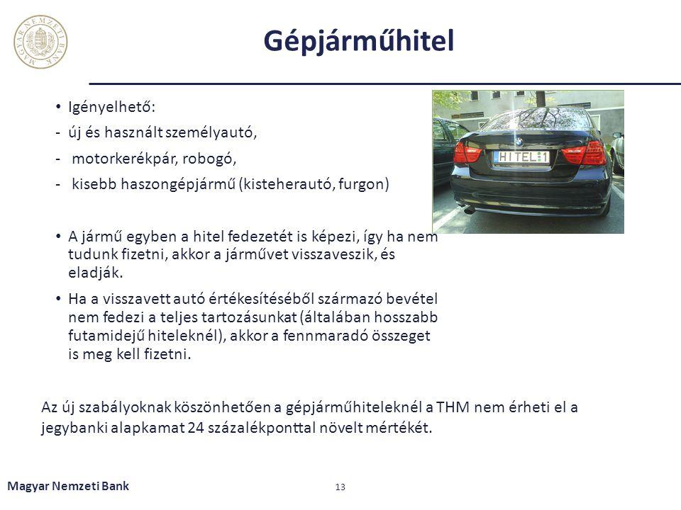 Gépjárműhitel Igényelhető: -új és használt személyautó, - motorkerékpár, robogó, - kisebb haszongépjármű (kisteherautó, furgon) A jármű egyben a hitel
