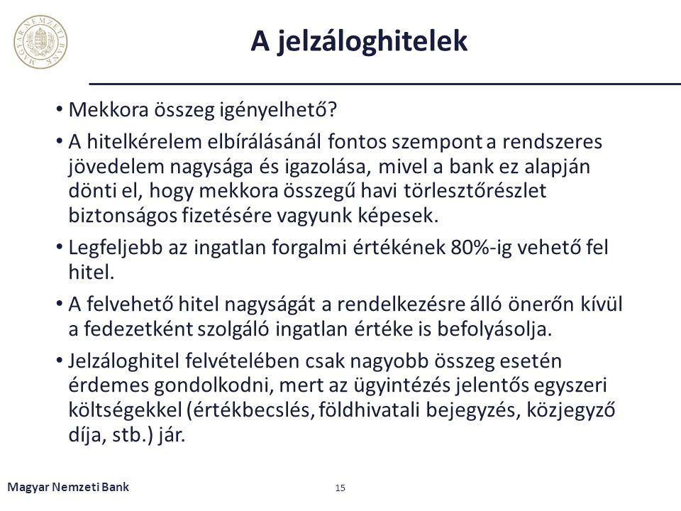 A jelzáloghitelek Mekkora összeg igényelhető? A hitelkérelem elbírálásánál fontos szempont a rendszeres jövedelem nagysága és igazolása, mivel a bank