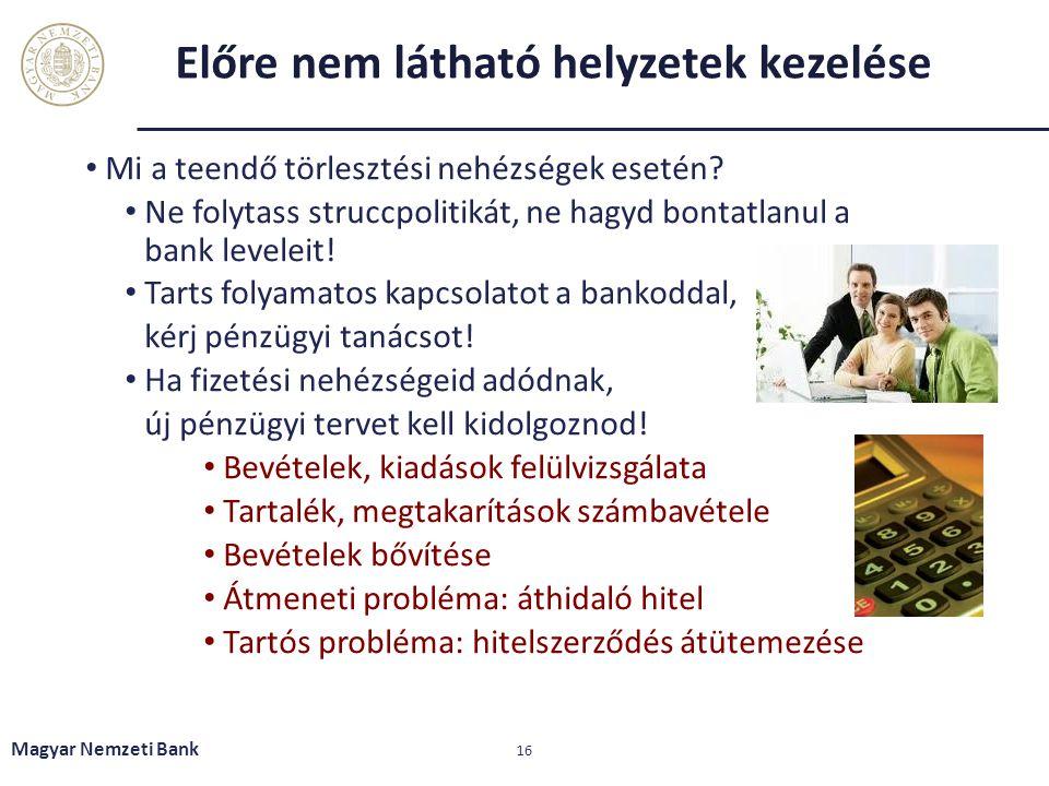 Előre nem látható helyzetek kezelése Mi a teendő törlesztési nehézségek esetén? Ne folytass struccpolitikát, ne hagyd bontatlanul a bank leveleit! Tar
