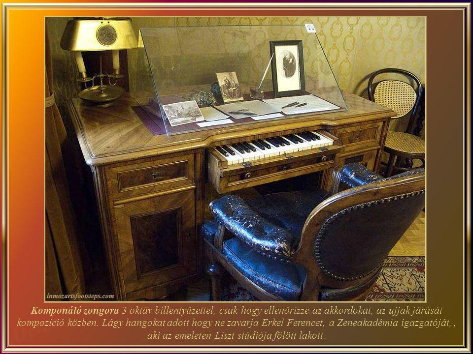 A másik zongora, rózsafa faragott lábakkal és angol mechanizmusal, a párizsi világkiállításon 1867- ben elnyerte az aranyérmet, és készítője –Liszt adományozója- Chickering, elnyerte III.