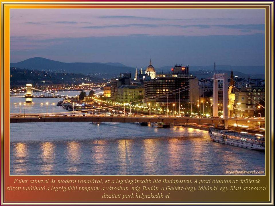 Az Erzsébet-híd (épült 1903-ban és az új 1964-ben), a harmadik legújabb híd Budapesten. A Duna legkeskenyebb részén, (csak 290m) áll. A nevét tisztele