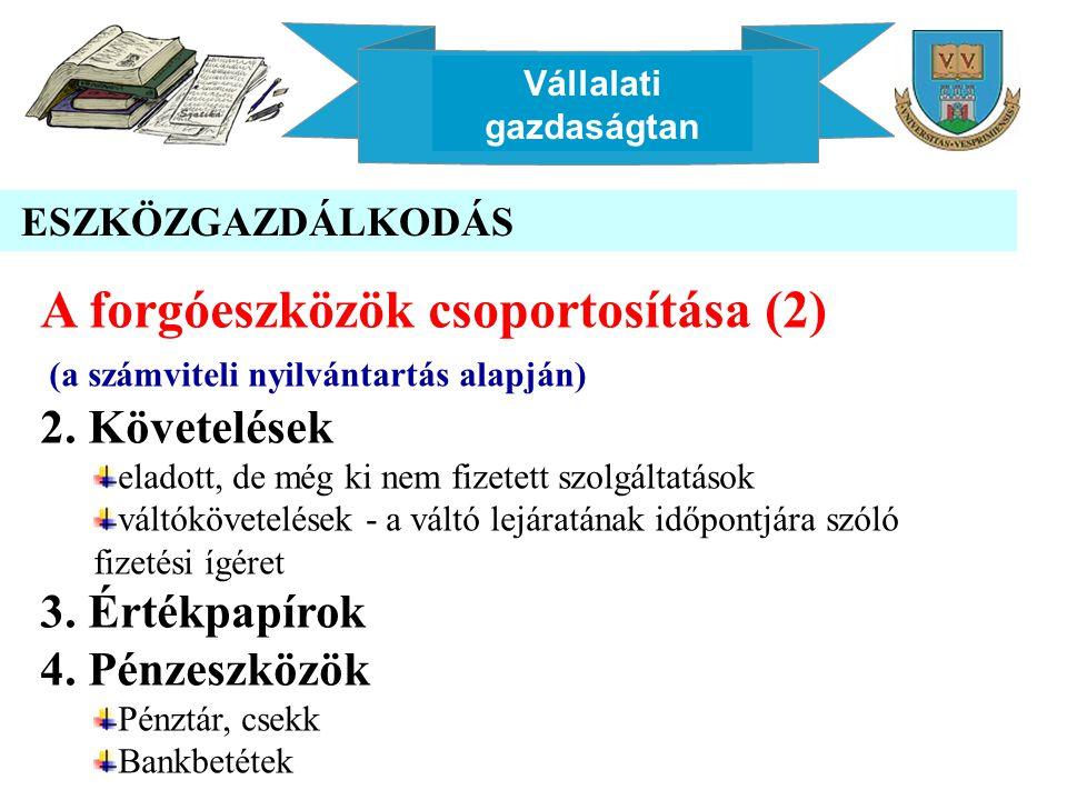 Vállalati gazdaságtan ESZKÖZGAZDÁLKODÁS A forgóeszközök csoportosítása (2) (a számviteli nyilvántartás alapján) 2.