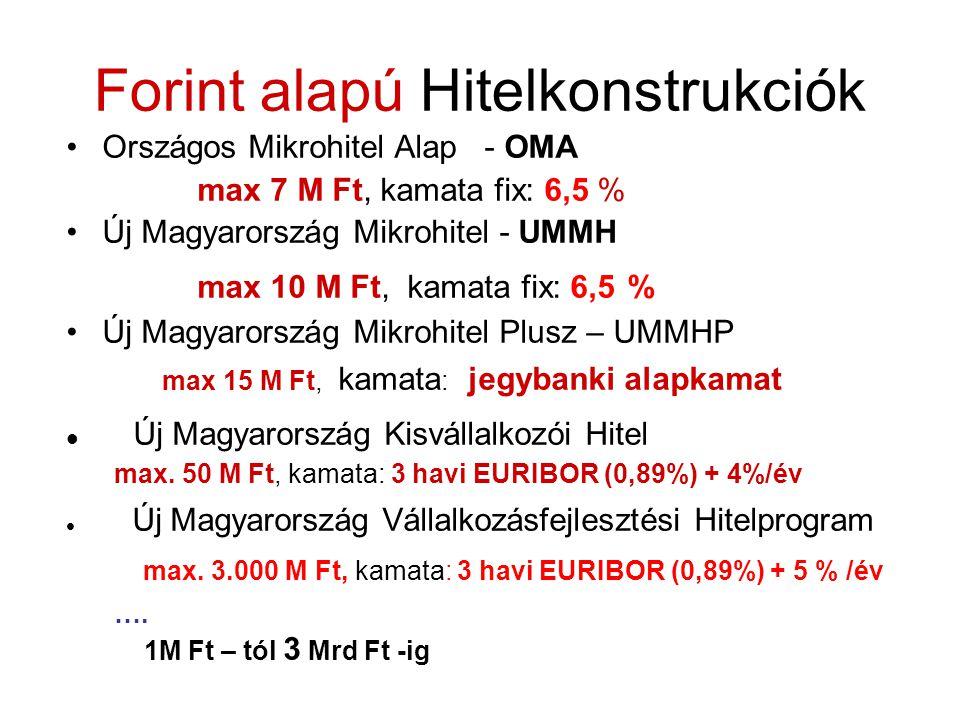 Forint alapú Hitelkonstrukciók Országos Mikrohitel Alap - OMA max 7 M Ft, kamata fix: 6,5 % Új Magyarország Mikrohitel - UMMH max 10 M Ft, kamata fix: 6,5 % Új Magyarország Mikrohitel Plusz – UMMHP max 15 M Ft, kamata : jegybanki alapkamat Új Magyarország Kisvállalkozói Hitel max.