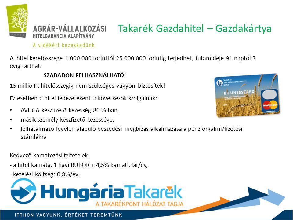 Takarék Gazdahitel – Gazdakártya Plusz A Gazdahitel kedvezményes változata az AGRÁRKAMARA tagjai számára.