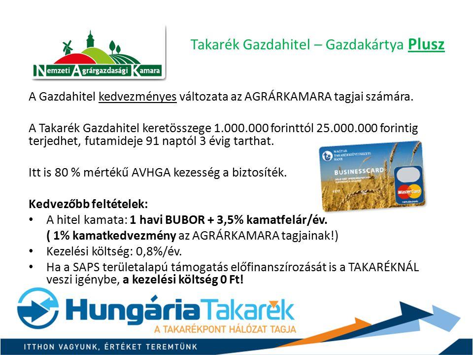 Takarék Gazdahitel – Gazdakártya Plusz A Gazdahitel kedvezményes változata az AGRÁRKAMARA tagjai számára. A Takarék Gazdahitel keretösszege 1.000.000