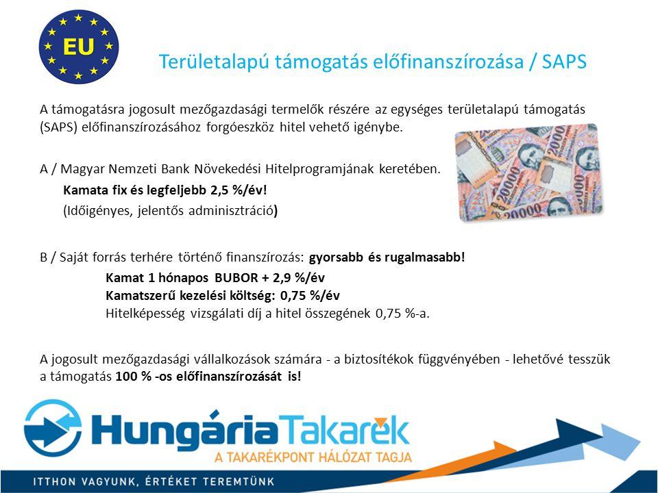 Területalapú támogatás előfinanszírozása / SAPS A támogatásra jogosult mezőgazdasági termelők részére az egységes területalapú támogatás (SAPS) előfin