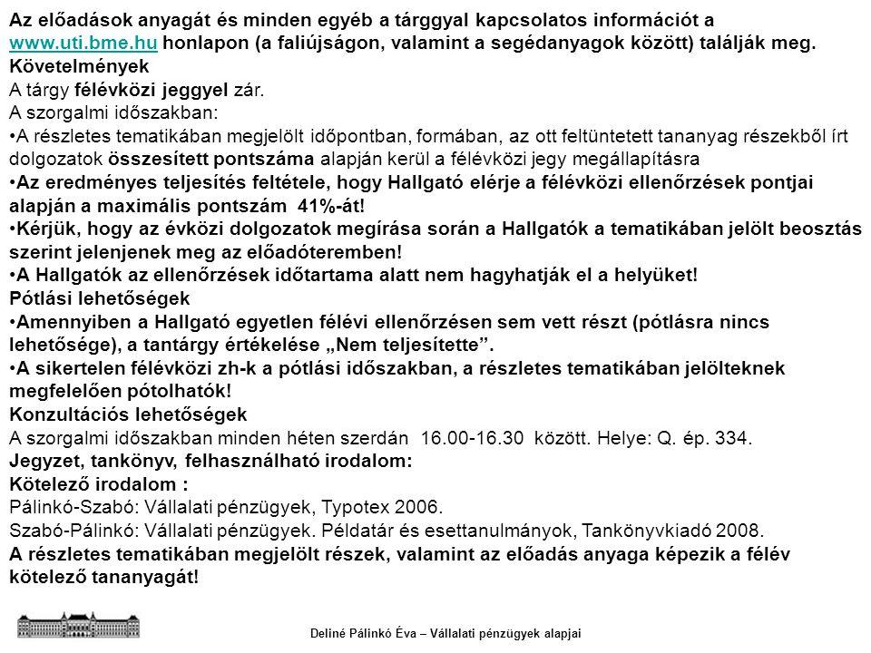 Deliné Pálinkó Éva – Vállalati pénzügyek alapjai Az előadások anyagát és minden egyéb a tárggyal kapcsolatos információt a www.uti.bme.hu honlapon (a