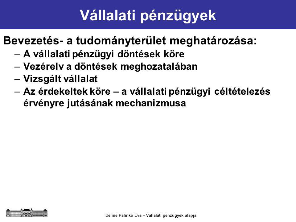 Deliné Pálinkó Éva – Vállalati pénzügyek alapjai Vállalati pénzügyek Bevezetés- a tudományterület meghatározása: –A vállalati pénzügyi döntések köre –
