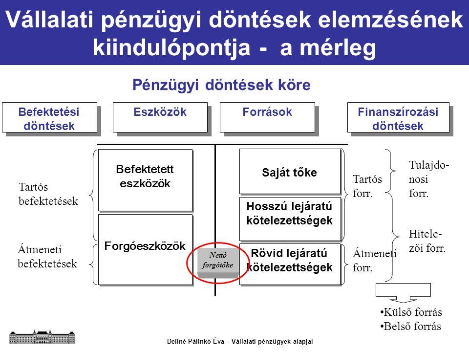 Deliné Pálinkó Éva – Vállalati pénzügyek alapjai Vállalati pénzügyi döntések elemzésének kiindulópontja - a mérleg Pénzügyi döntések köre Befektetési