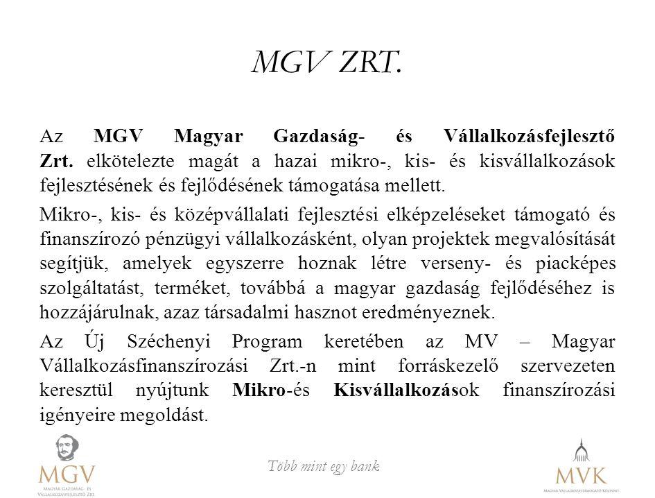 Több mint egy bank MGV ZRT. Az MGV Magyar Gazdaság- és Vállalkozásfejlesztő Zrt. elkötelezte magát a hazai mikro-, kis- és kisvállalkozások fejlesztés