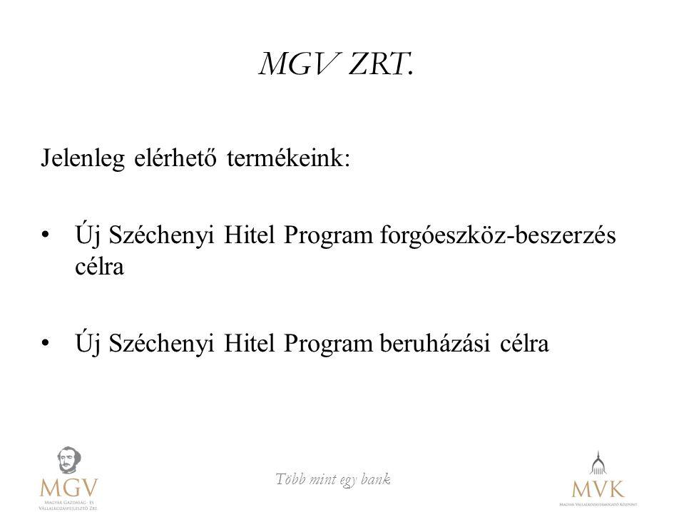 Több mint egy bank MGV ZRT. Jelenleg elérhető termékeink: Új Széchenyi Hitel Programforgóeszköz-beszerzés célra Új Széchenyi Hitel Programberuházási c