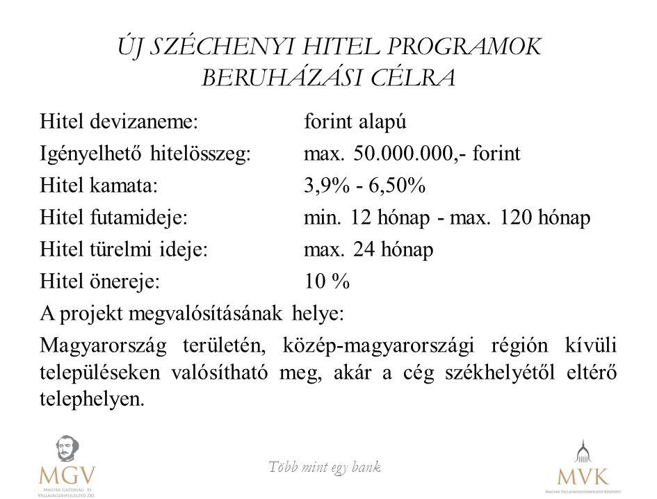 Több mint egy bank ÚJ SZÉCHENYI HITEL PROGRAMOK BERUHÁZÁSI CÉLRA Hitel devizaneme: forint alapú Igényelhető hitelösszeg: max. 50.000.000,- forint Hite