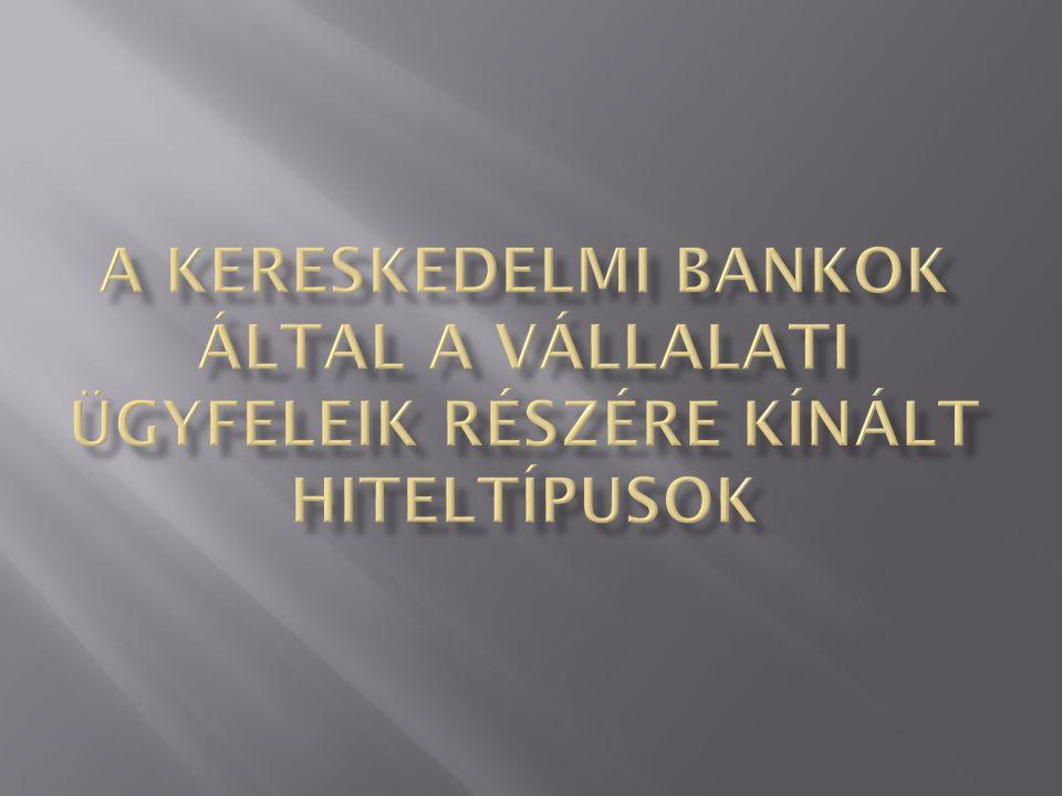  a folyószámlahitel  a Széchenyi kártya hitel,  az üzleti kártya,  a forgóeszköz hitelek  faktorálás