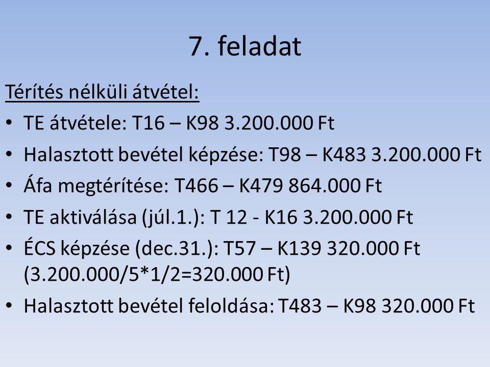 7. feladat Térítés nélküli átvétel: TE átvétele: T16 – K98 3.200.000 Ft Halasztott bevétel képzése: T98 – K483 3.200.000 Ft Áfa megtérítése: T466 – K4
