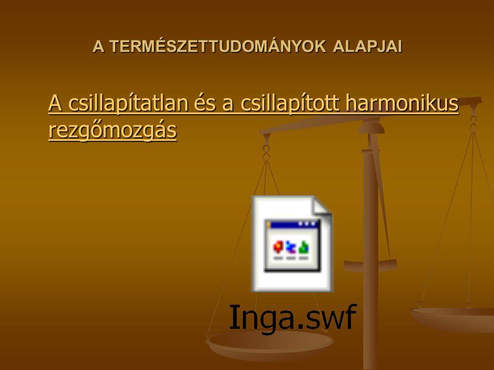 A TERMÉSZETTUDOMÁNYOK ALAPJAI A csillapítatlan és a csillapított harmonikus rezgőmozgás A csillapítatlan és a csillapított harmonikus rezgőmozgás