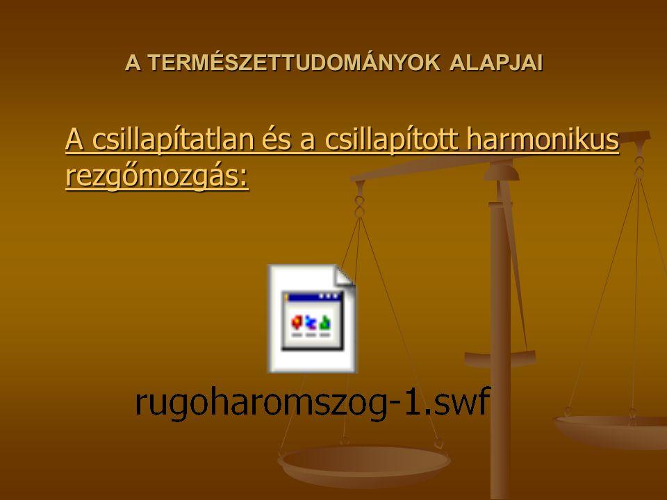 A TERMÉSZETTUDOMÁNYOK ALAPJAI A csillapítatlan és a csillapított harmonikus rezgőmozgás: A csillapítatlan és a csillapított harmonikus rezgőmozgás: