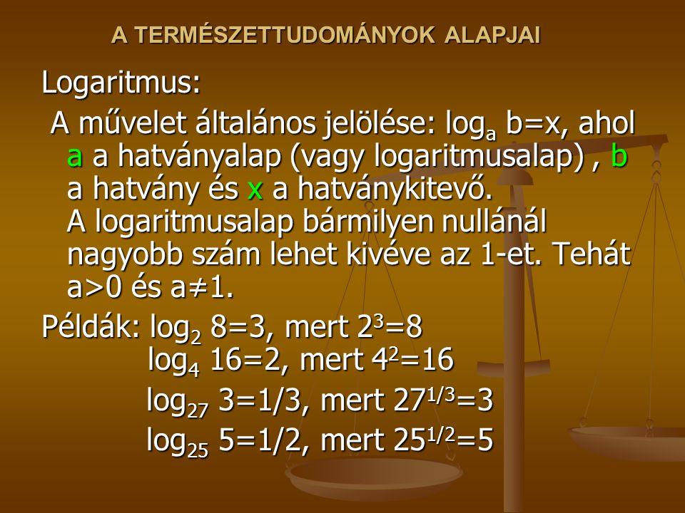 A TERMÉSZETTUDOMÁNYOK ALAPJAI Logaritmus: A művelet általános jelölése: log a b=x, ahol a a hatványalap (vagy logaritmusalap), b a hatvány és x a hatv