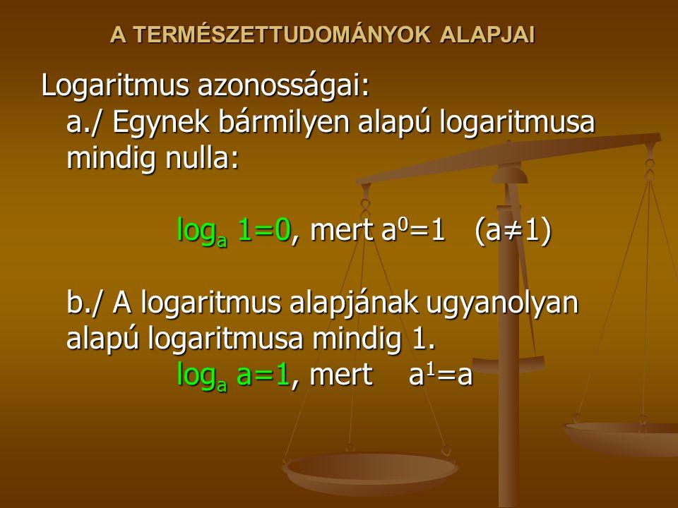 A TERMÉSZETTUDOMÁNYOK ALAPJAI Logaritmus azonosságai: a./ Egynek bármilyen alapú logaritmusa mindig nulla: log a 1=0, mert a 0 =1 (a≠1) b./ A logaritm