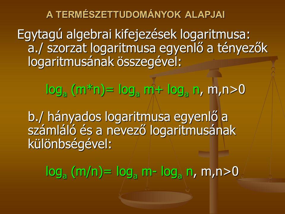 A TERMÉSZETTUDOMÁNYOK ALAPJAI Egytagú algebrai kifejezések logaritmusa: a./ szorzat logaritmusa egyenlő a tényezők logaritmusának összegével: log a (m