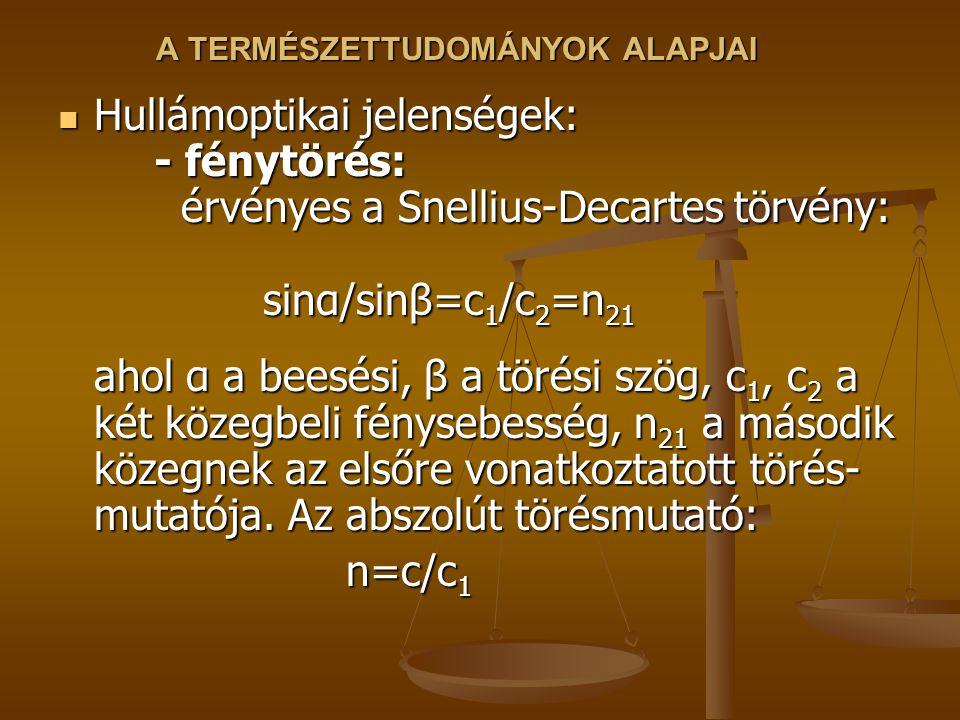 A TERMÉSZETTUDOMÁNYOK ALAPJAI Hullámoptikai jelenségek: - fénytörés: érvényes a Snellius-Decartes törvény: sinα/sinβ=c 1 /c 2 =n 21 ahol α a beesési,