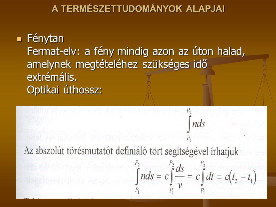 A TERMÉSZETTUDOMÁNYOK ALAPJAI Fénytan Fermat-elv: a fény mindig azon az úton halad, amelynek megtételéhez szükséges idő extrémális. Optikai úthossz: F