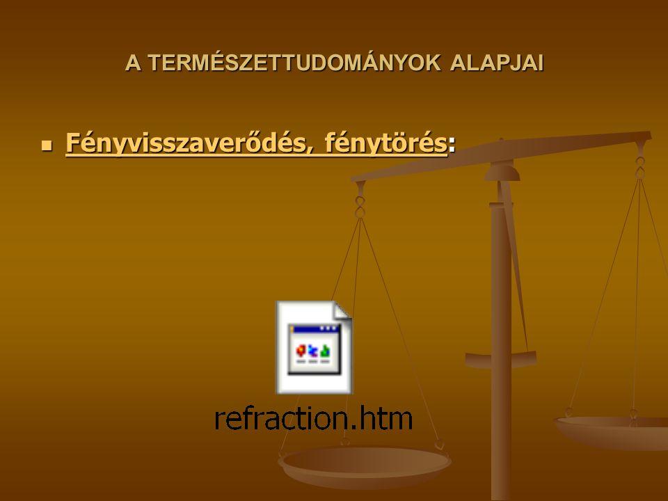 A TERMÉSZETTUDOMÁNYOK ALAPJAI Fényvisszaverődés, fénytörés: Fényvisszaverődés, fénytörés: Fényvisszaverődés, fénytörés Fényvisszaverődés, fénytörés