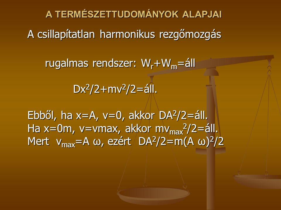 A TERMÉSZETTUDOMÁNYOK ALAPJAI A csillapítatlan harmonikus rezgőmozgás rugalmas rendszer: W r +W m =áll Dx 2 /2+mv 2 /2=áll. Ebből, ha x=A, v=0, akkor