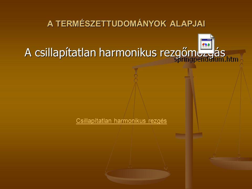 A TERMÉSZETTUDOMÁNYOK ALAPJAI A csillapítatlan harmonikus rezgőmozgás Csillapítatlan harmonikus rezgés