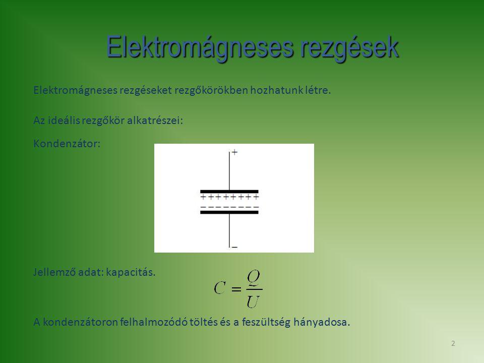 2 Elektromágneses rezgések Elektromágneses rezgéseket rezgőkörökben hozhatunk létre. Az ideális rezgőkör alkatrészei: Kondenzátor: A kondenzátoron fel