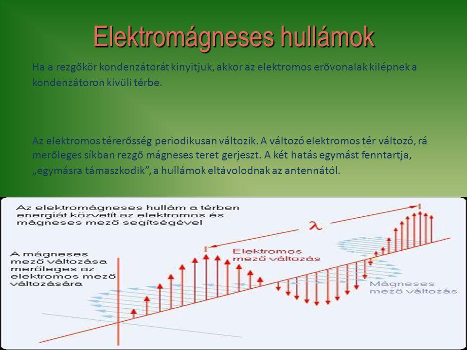 8 Elektromágneses hullámok Ha a rezgőkör kondenzátorát kinyitjuk, akkor az elektromos erővonalak kilépnek a kondenzátoron kívüli térbe. Az elektromos