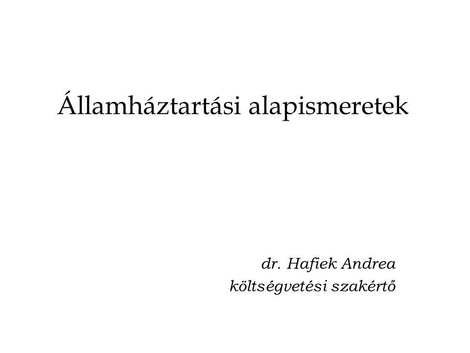 Államháztartási alapismeretek dr. Hafiek Andrea költségvetési szakértő