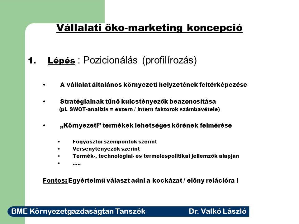 Vállalati öko-marketing koncepció 1.Lépés : Pozicionálás (profilírozás) A vállalat általános környezeti helyzetének feltérképezése Stratégiainak tűnő kulcstényezők beazonosítása (pl.