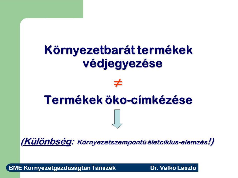 Környezetbarát termékek védjegyezése ≠ Termékek öko-címkézése (Különbség: Környezetszempontú életciklus-elemzés !) BME Környezetgazdaságtan Tanszék Dr.